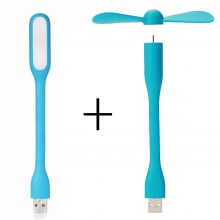 Creative USB Fan Flexible Portable Mini Fan and USB LED Light Lamp For Power Bank & Notebook & Computer Summer Gadget