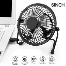 1Pcs 6inch Portable usb fan  Aluminum Small Desk USB 4 Blades Cooler Cooling Fan  universal for Car Fan