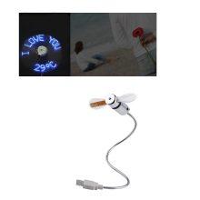 NOYOKERE Mini USB Fan Gadgets Flexible Gooseneck LED Light USB Cooling Flashing Temperature Display Fan for PC Lap Notebook Desk