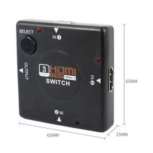 JZYuan 3 Port HDMI Splitter Switcher 1×3 Mini HDMI Port 3 Input 1 Output for HDTV 1080P Video DV HDTV 1080P hdmi kvm switches