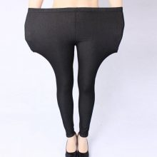 free shipping plus size women jeans pants heavy lady fashion immitation denim pant elastic large pencil leggings long trousers