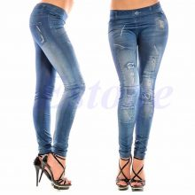 Sexy Women Denim Look Jeans Ripped Skinny Jeggings Stretchy Slim Leggings Pants