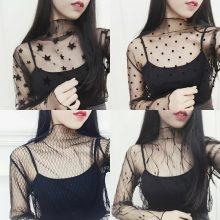 Ruoru Women Sexy Harajuku Mesh Tops Net See Through T Shirt Transparent Undershirt Star Base Top Camisas Femininas Clubwear
